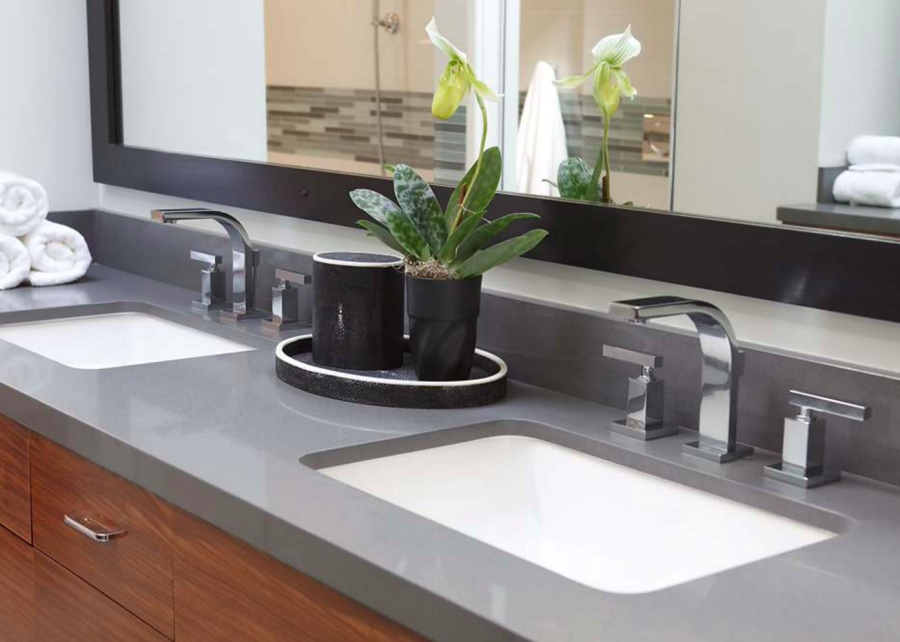 Clean bathroom countertop with a houseplant
