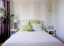 Clever use of wallpaper brings hotel room inspired ambiance to the modern bedroom