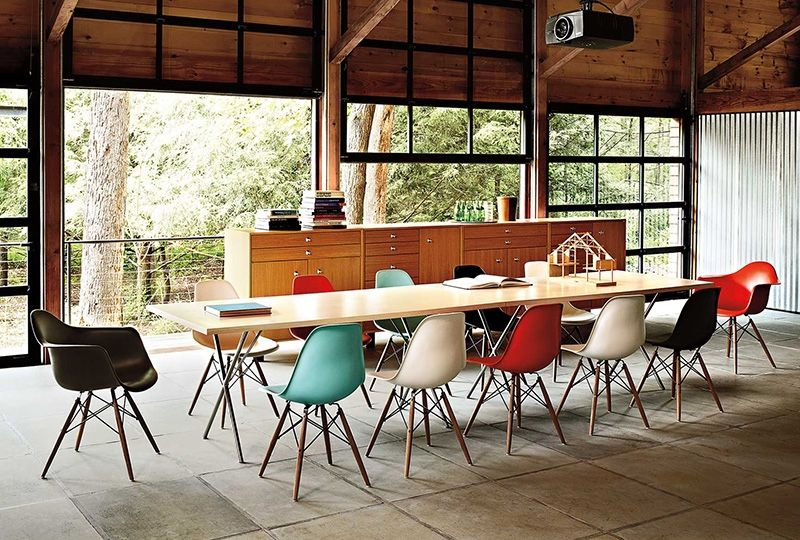 Colorful Eames moulded plastic chairs