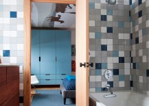 Colorful and eclectic collection of tiles inside the modern bathroom