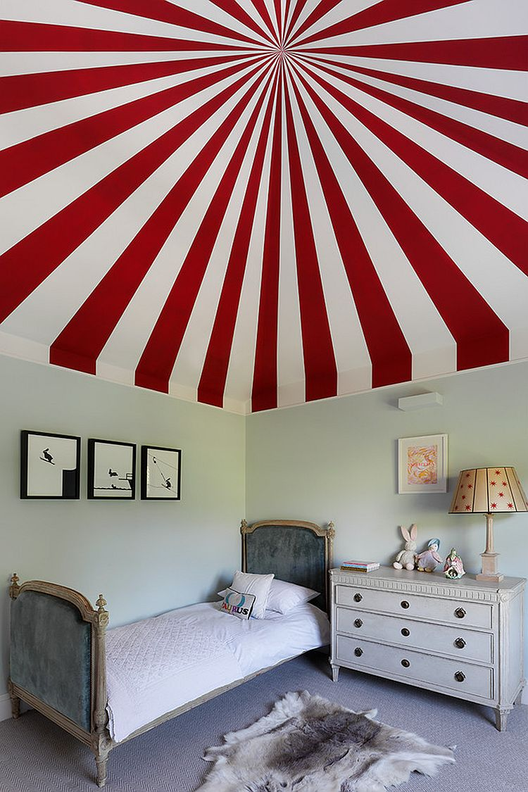 Colorful circus tent inspired ceiling for the kids' bedroom [Design: Turner Pocock]