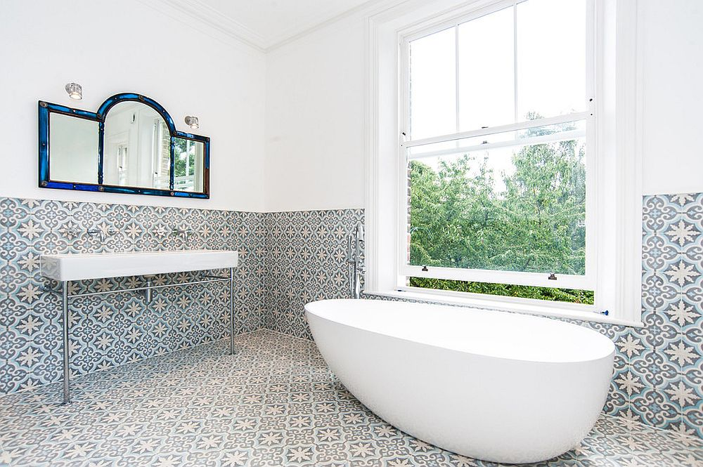 Combine white with lovely tiles for a relaxing and fun bathroom [Design: Convert Construction]