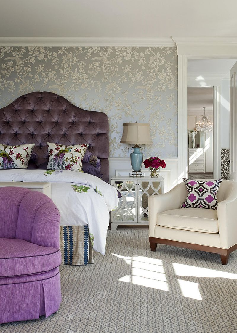 Comfy custom headboard adds a dash of opulence to the bedroom [Design: Robin Pelissier Interior Design & Robin's Nest]