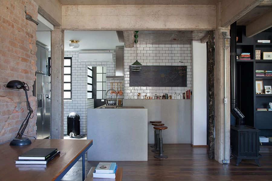 Concrete, brick, tiles and timber create a truly ingenious interior