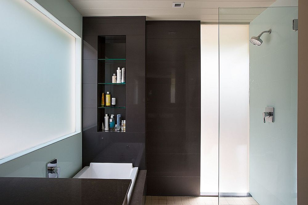 Contemporary bathroom combines dark and light shades beautifully