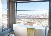 Contemporary bathroom in Aspen with a view of the rocky mountains