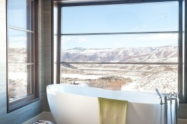 Contemporary bathroom in Aspen with a view of the rocky mountains 270x180 Framed to Perfection: 15 Bathrooms with Majestic Mountain Views