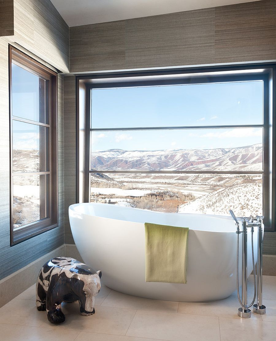 Contemporary bathroom in Aspen with a view of the Rocky Mountains [Design: Griffith Interior Design]