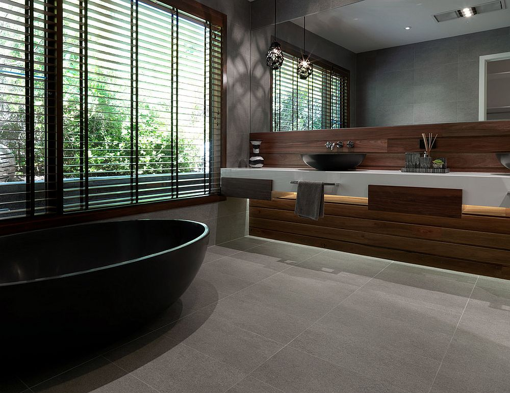 Contemporary gray bathroom with a hint of white and timber warmth [From: Andrew Wuttke / Apaiser]