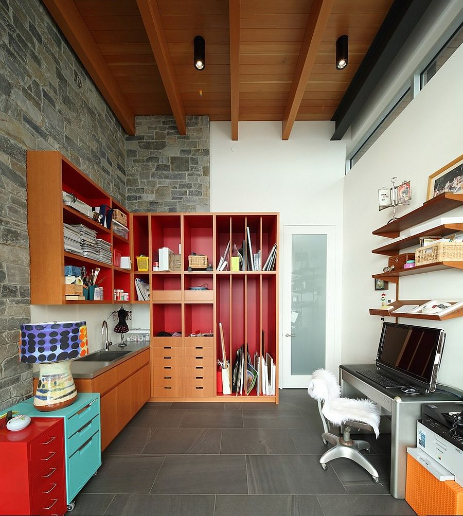 Contemporary home office brings together a variety of textures