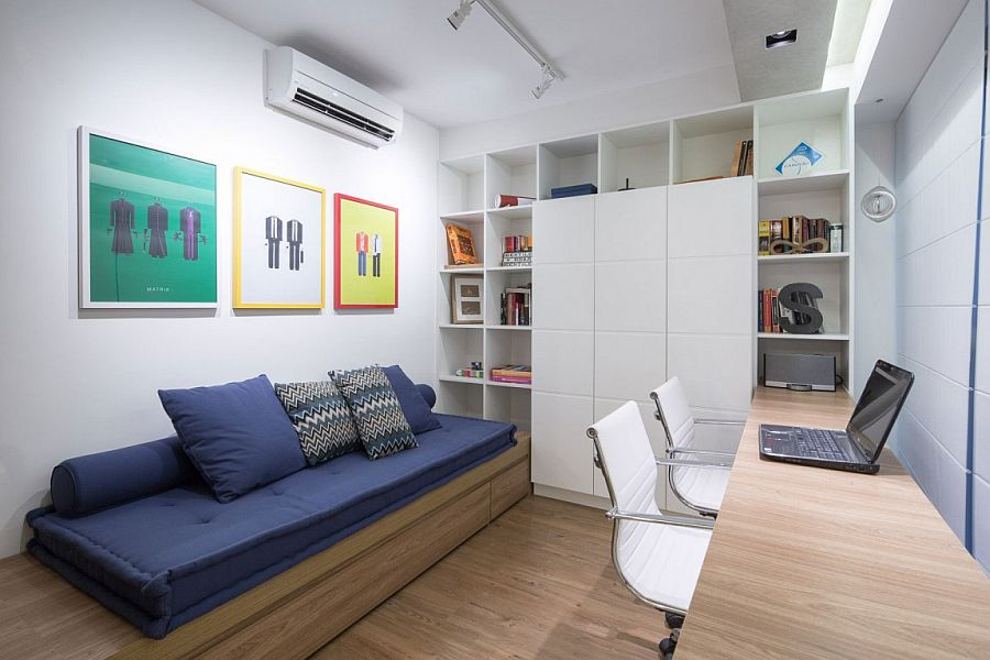 Contemporary home work area with daybed and ample storage