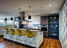 Contemporary kitchen with mid-century glam and a splash of color