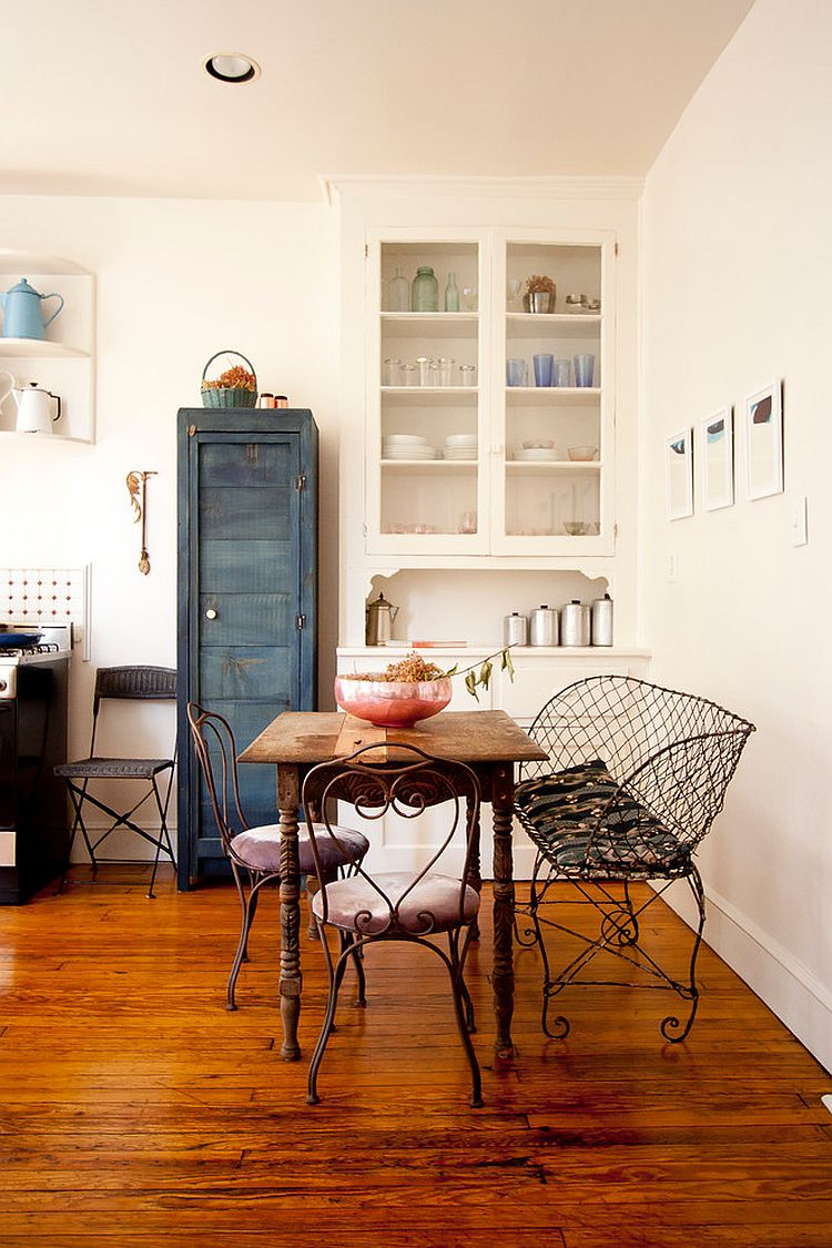 Cool shabby chic dining room of Brooklyn Apartment  From  Chris A  Dorsey Photography. 30 Delightful Dining Room Hutches and China Cabinets