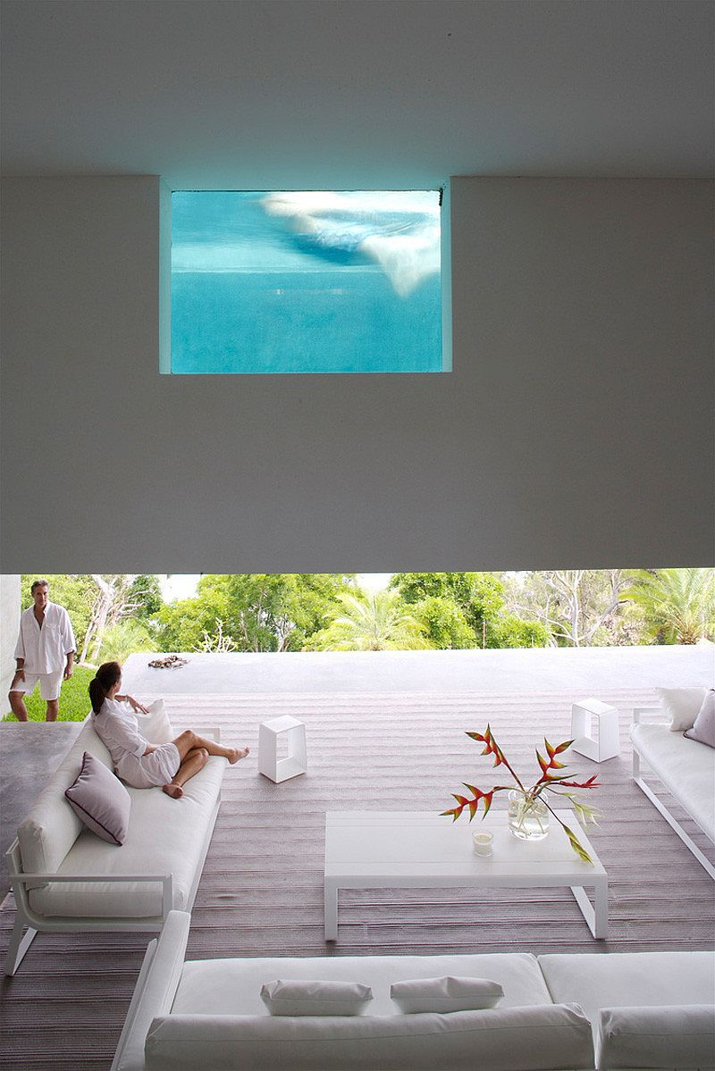 Cool space underneath the pool offers unabated views and a soothing escape