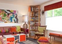 Corner bookshelf with tidy stacks 217x155 Helpful Hints for Decorating Bookshelves