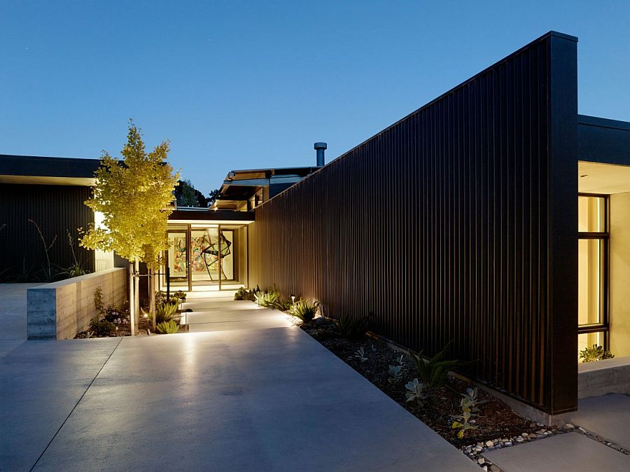 Corrugated siding shapes unique entrance for the contemporary Mill Valley Residence