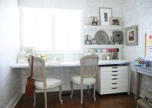Cozy home office and crafts zone with shabby chic style