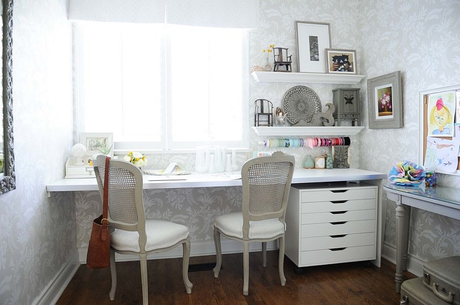 cool shabby chic home office decor | 30 Gorgeous Shabby Chic Home Offices and Craft Rooms