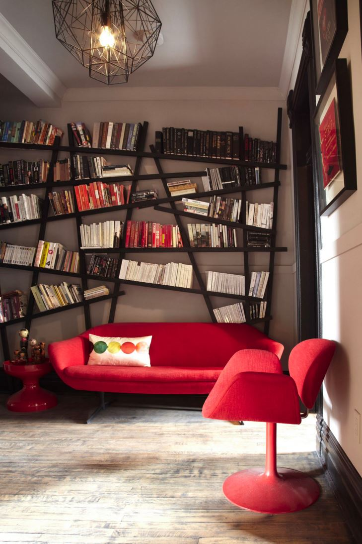 Creative bookshelf in a modern living area