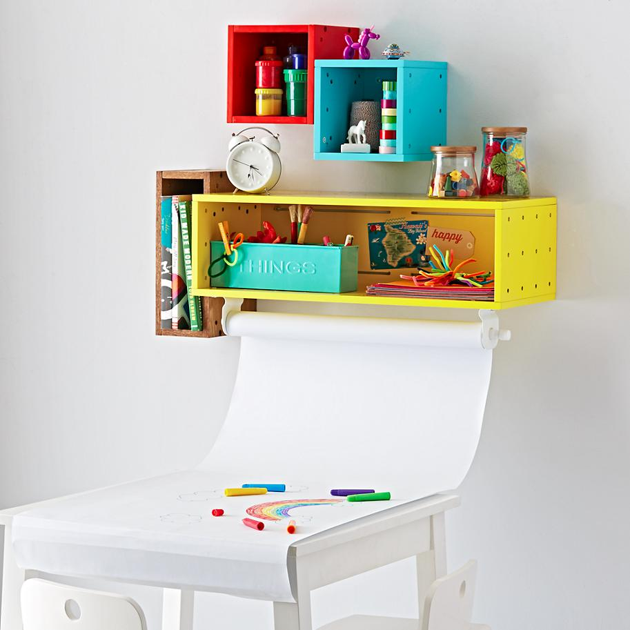 Cube shelf and paper holder from The Land of Nod