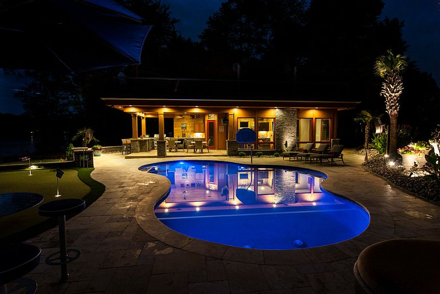 Curvy design of the pool is perfect for the casual ambiance of the lakeside retreat