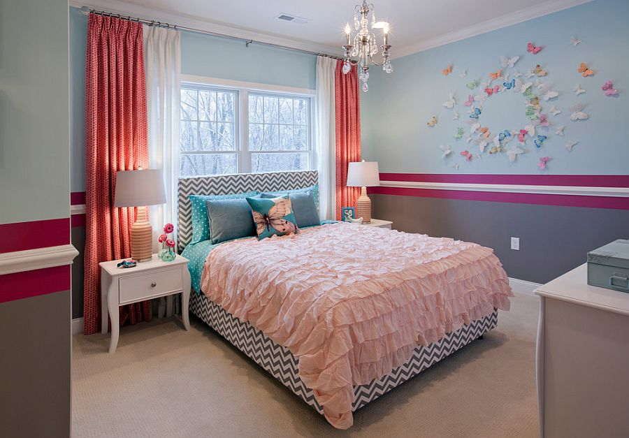 Cute bedroom design for your little girl with butterflies on the wall [Design: Mary Cook]