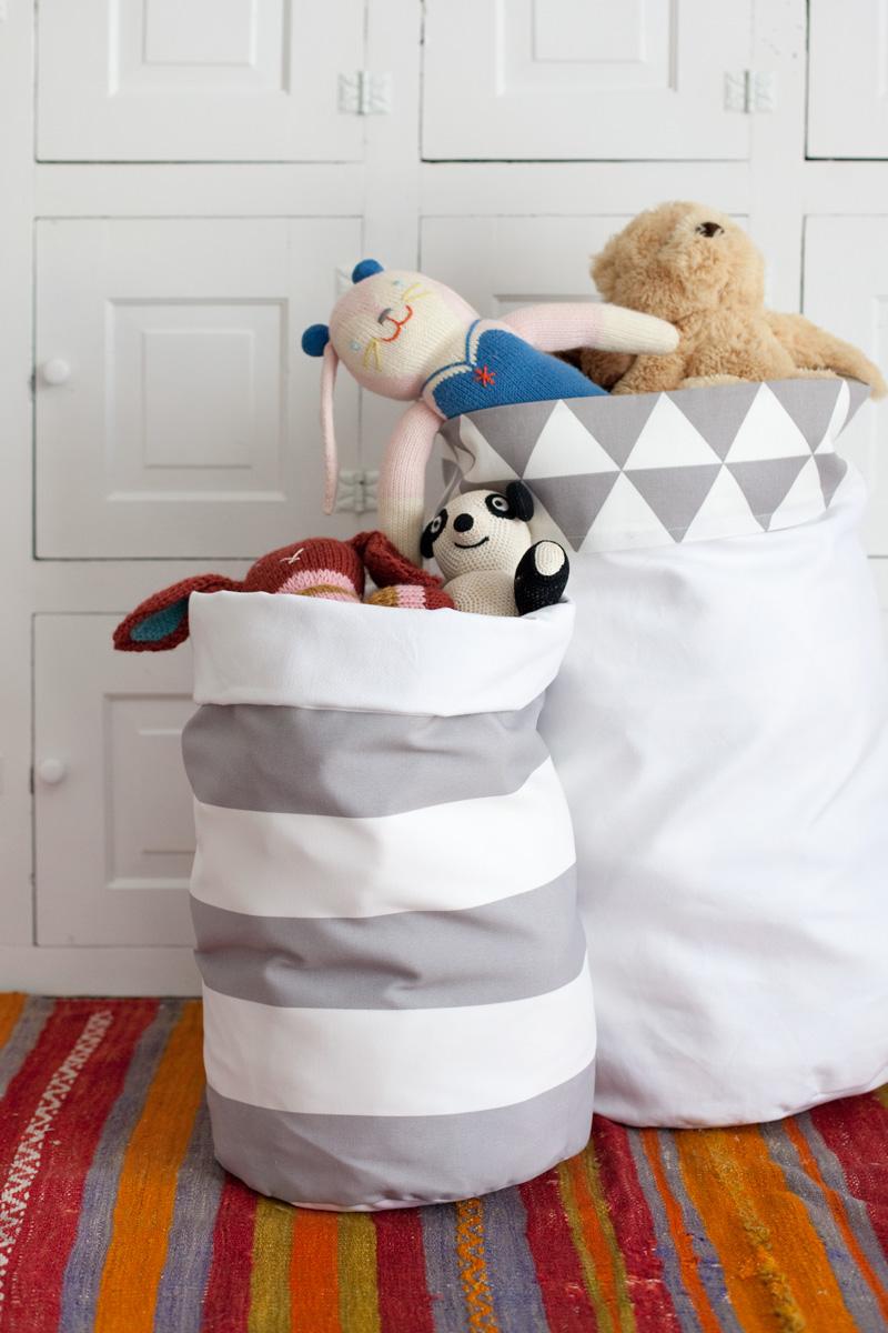 DIY fabric storage bins from A Beautiful Mess