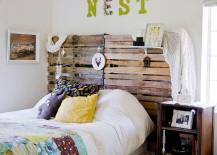 DIY pallet headboard for the shabby chic bedroom