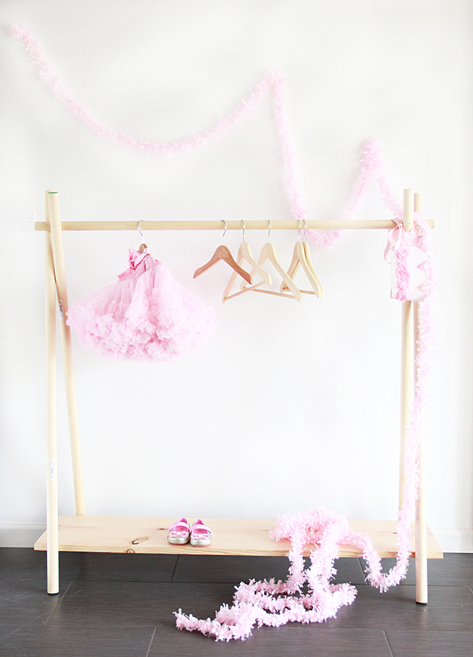 DIY wooden clothing rack from A Bubbly Life