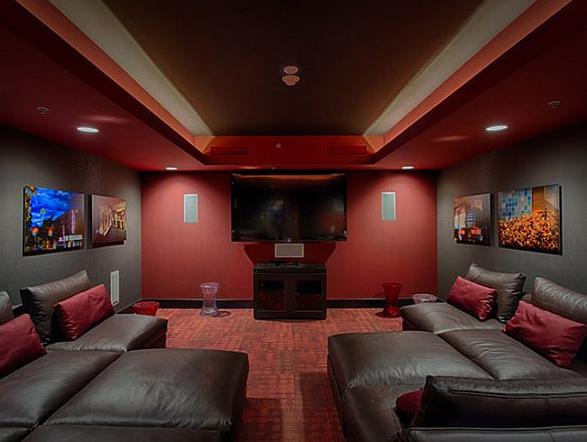 Dashing home theater with plush seating