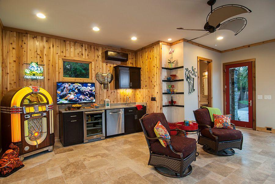 Decor inside the cabana is kept modern and minimal
