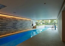 Design of the lap pool and private courtyard allows homeowners to enjoy it throughout the year