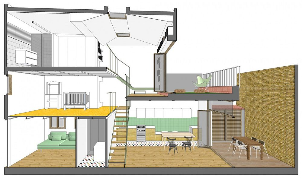 Design plan of the multiple level, renovated row house in Barcelona