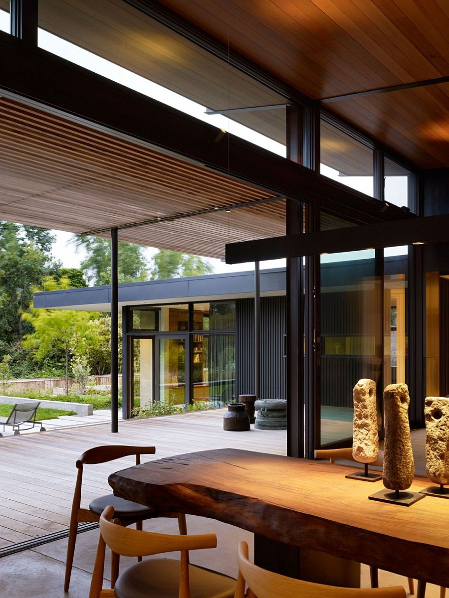 Dining area of the Mill Valley home with live ege dining table
