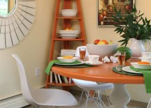 Dining room with a corner shelf