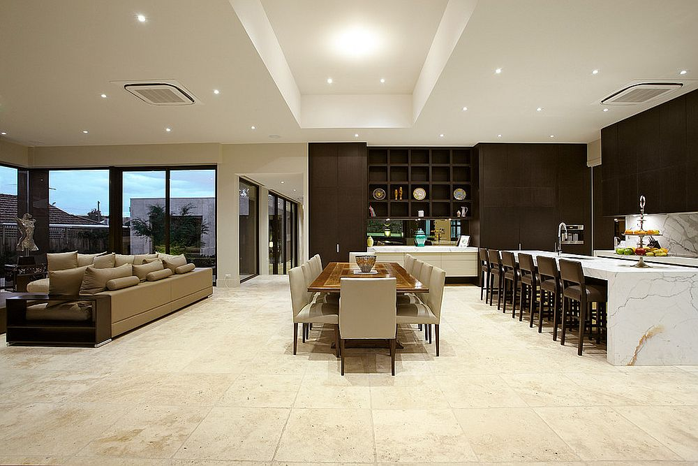 Diverse shades are used to delineate space in the open floor plan [Design: Bagnato Architects]