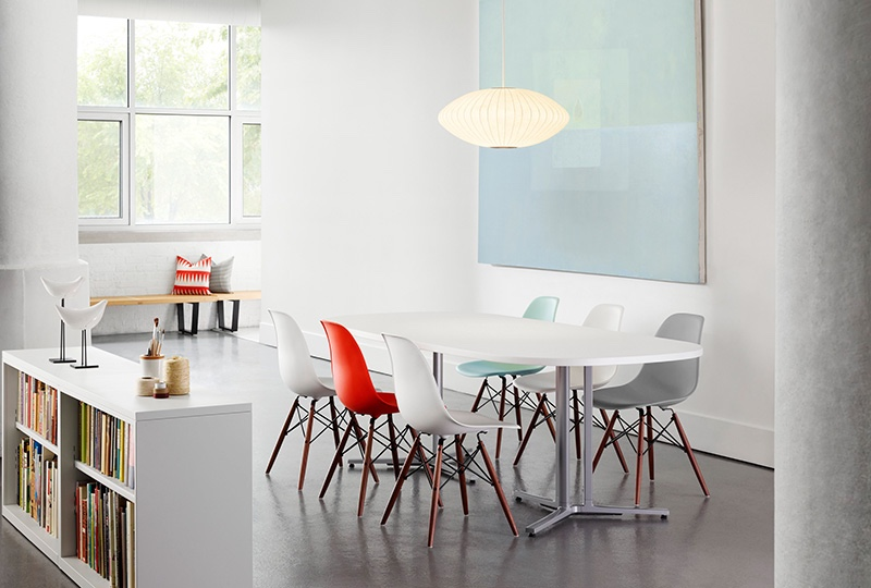 Eames moulded plastic side chairs