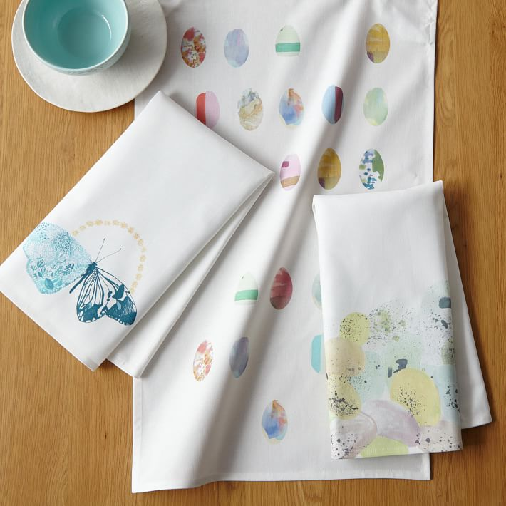 Easter egg tea towels from West Elm