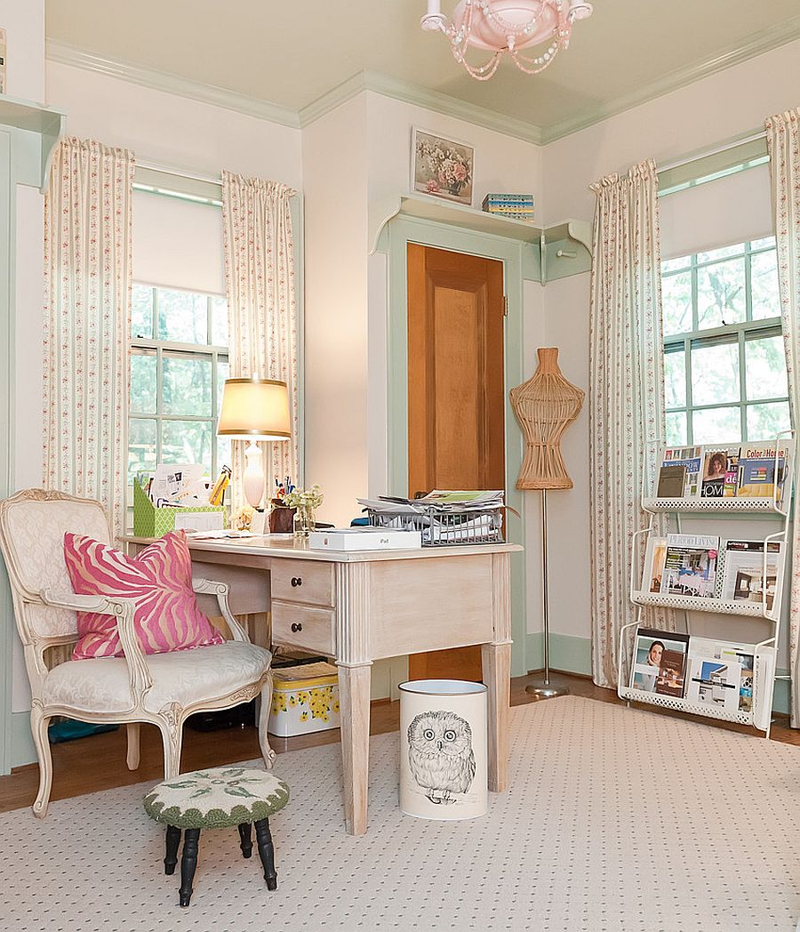 Elegant home office combines traditional and shabby chic styles [From: Kristie Barnett / Melanie G Photography]