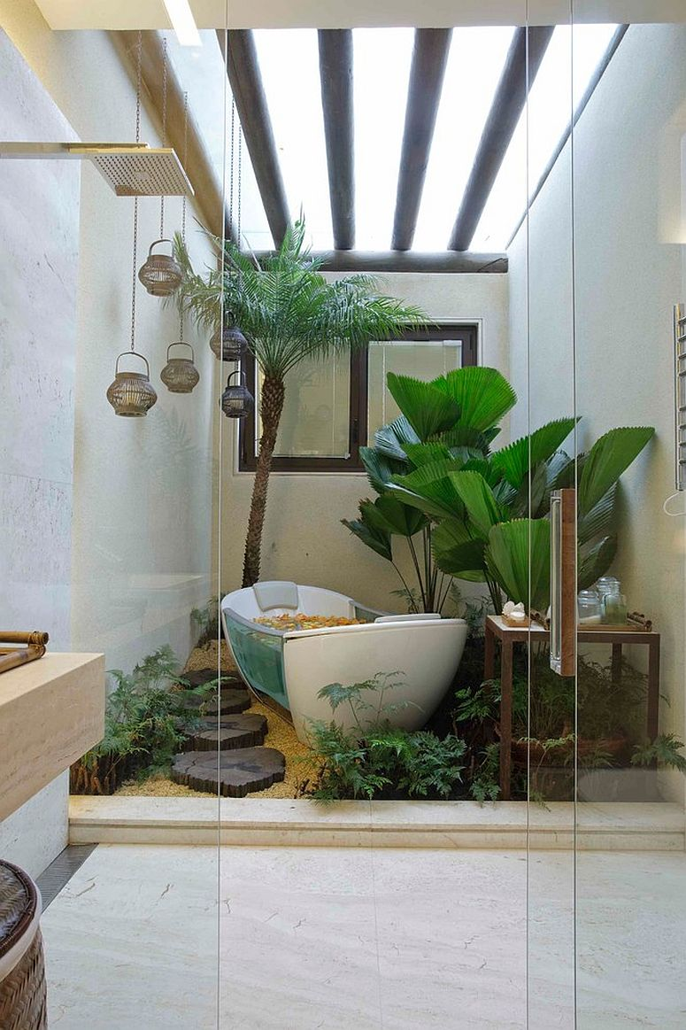 Embracing your love for greenery with a vivacious, plant-filled bathroom [Design: Eduarda Correa Arquitetura & Interiores]