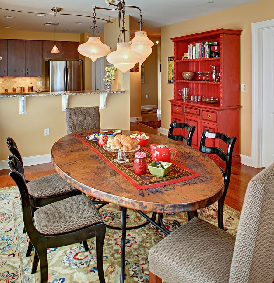 ... Fabulous Dining Room Hutch Adds Red To The Eclectic Setting [Design:  Tracey Stephens Interior