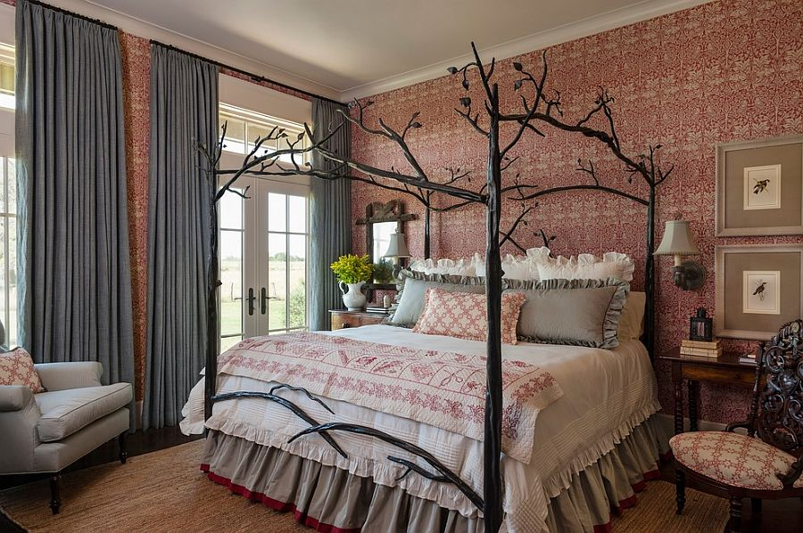 master bedroom design trends Top Master Bedroom Design Trends For This Autumn Farmhouse style bedroom with custom bed and striking wallpaper