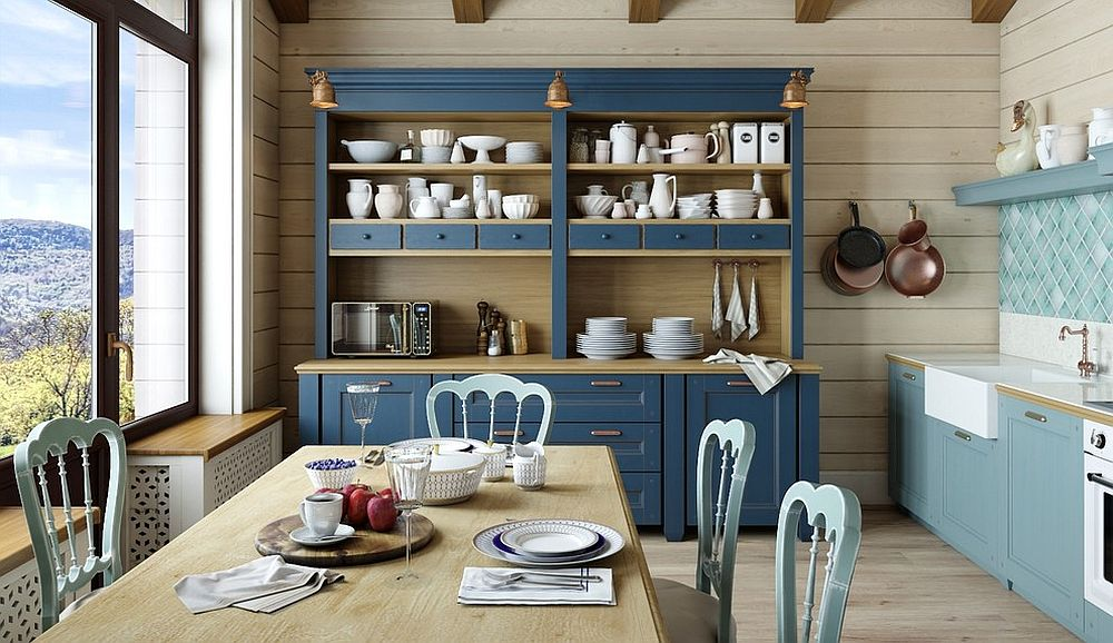 Farmhouse style dining space and kitchen with a fabulous hutch in blue Organizational Delight: 30 Smart Dining Room Hutches and China Cabinets