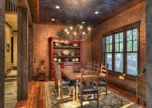 Faux painted walls and ceiling leave you spellbound in this rustic kitchen
