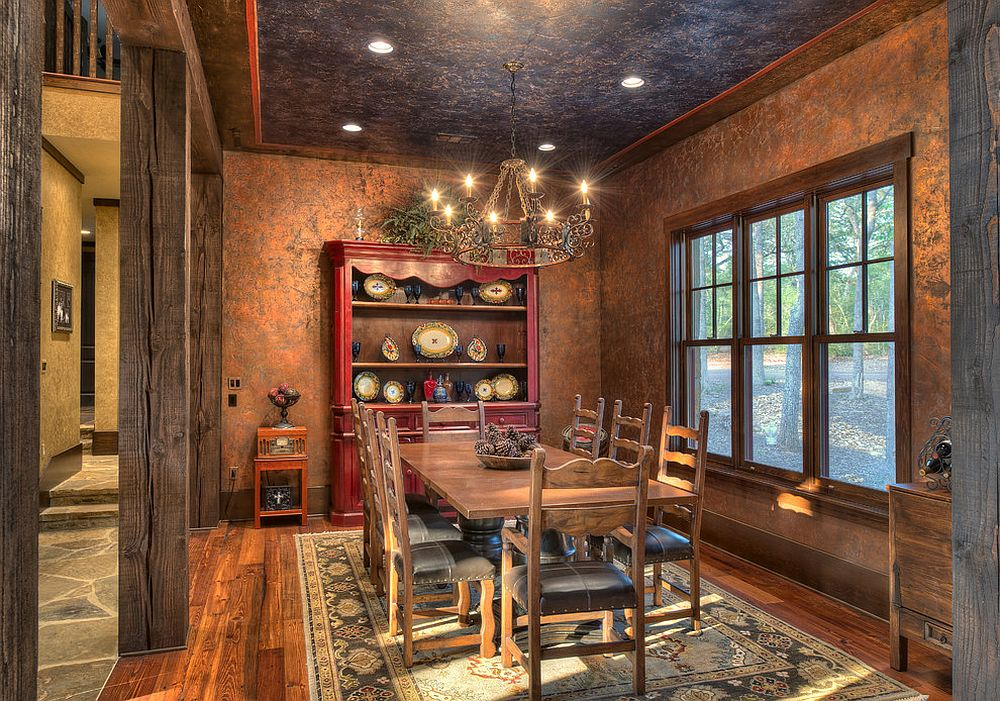 View In Gallery Faux Painted Walls And Ceiling Leave You Spellbound This Rustic Kitchen Design Ellis