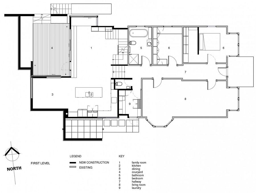 First level floor plan of the revamped Wellington villa