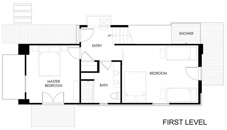 Floor plan of lower level of 510 cabin