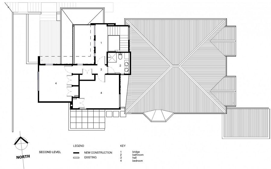 Floor plan of the second level with twin bedrooms and hall