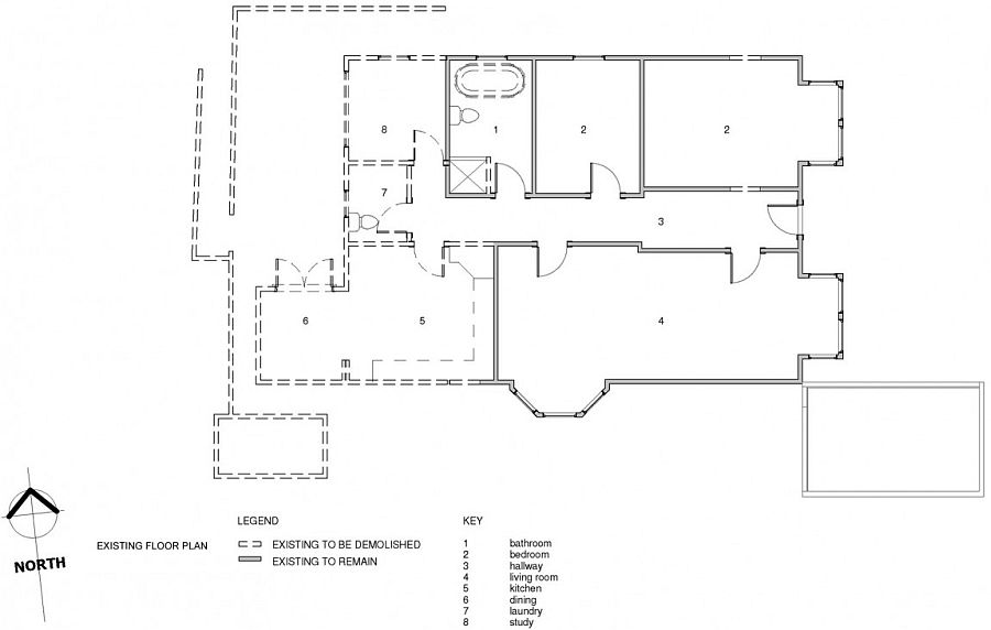 Floor plan of the spacious New Zealand home before renovation