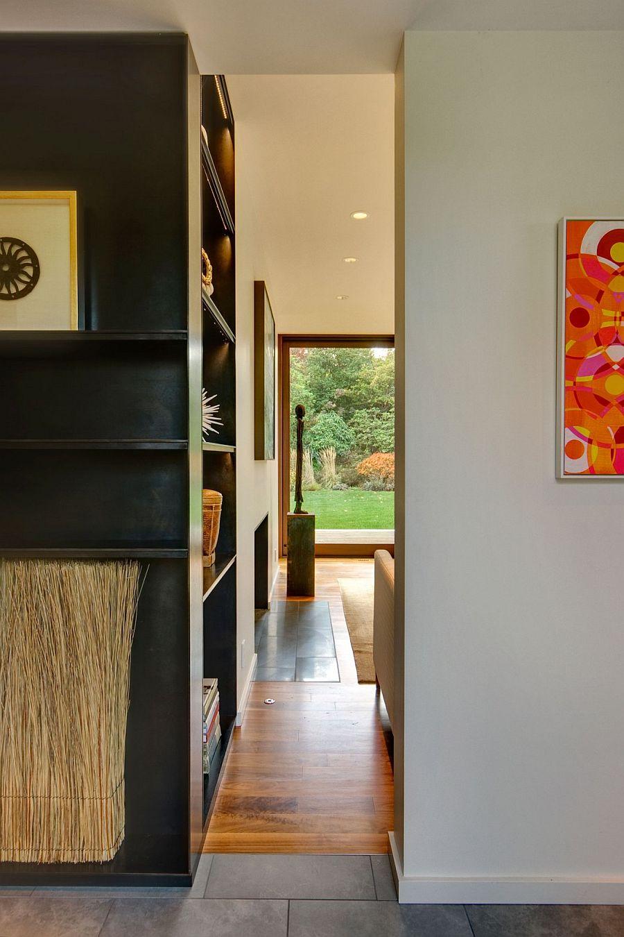 Floor tiles demarcate space inside the house